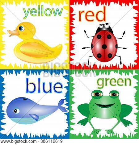 Cartoon Illustration Of Primary Colors With Animals Education Set.learning Colors