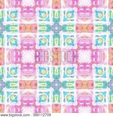 Boho Watercolor Pattern. Seamless Tie Dye Illustration. Ikat Persian Design. Blue, White, Indigo, De