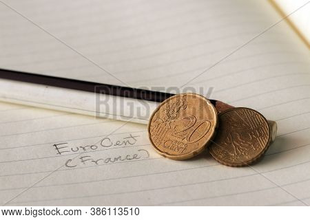 Twenty France Euro Cent On Reverse, A Map, Next To The Facial Value, Symbolizes The Gathering Of The