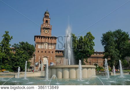 Milan/italy-july 10, 2016: Sforza Castle, Built As A Fortress During The 14th Century, With Its 70 M
