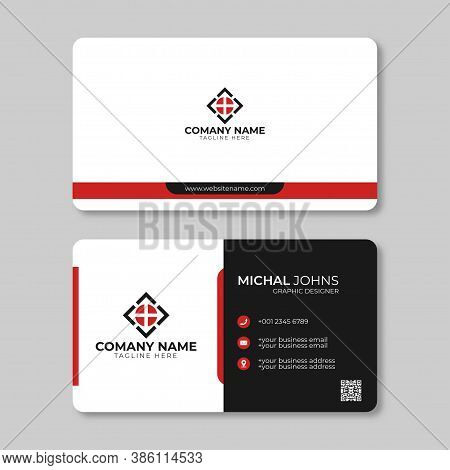Modern Business Card Template. Personal Visiting Card With Company Logo. Vector Business Card Templa