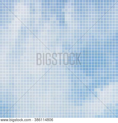 Abstract Vector Square Pixel Mosaic Background - Light Blue