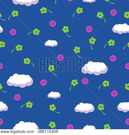 Simple Vector Cloud Seamless Pattern. Cute Childish Background.