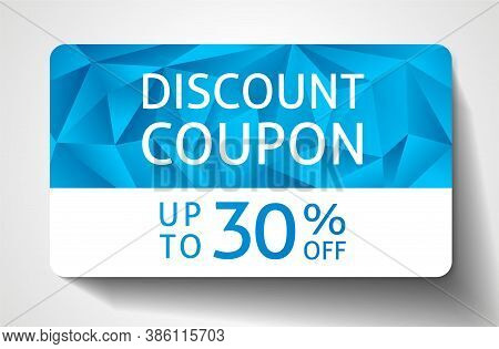 Discount Coupon With Abstract Blue Polygon Background, Geometric Poly Pattern (triangle Shape Textur