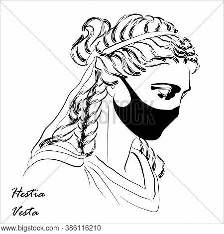 Trendy Vector Print With Vesta Statue Head Wearing Face Mask. Drawing Of Modern Linear Sketch Of God