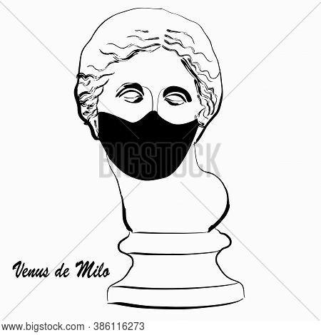 Trendy Vector Print With Venus Statue Head Miloskaya Wearing Face Mask. Drawing Of Modern Linear Ske
