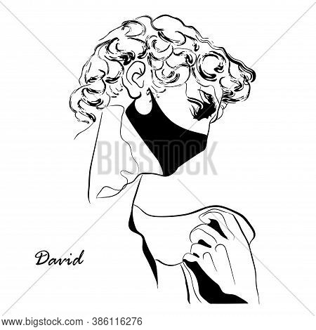 Trendy Vector Print With Head Of Statue Of David In Face Mask. Drawing Of Modern Linear Sketch Of Go