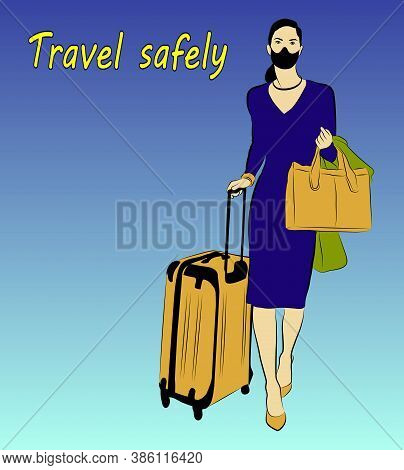 Vector Illustration Of A Running Woman With A Bag And Suitcase. Tourist In A Face Mask With Luggage.