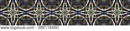 Geometric Rug Pattern. Luminous Neon Seamless Texture. Abstract Kaleidoscope Design. Seamless Tie Dy