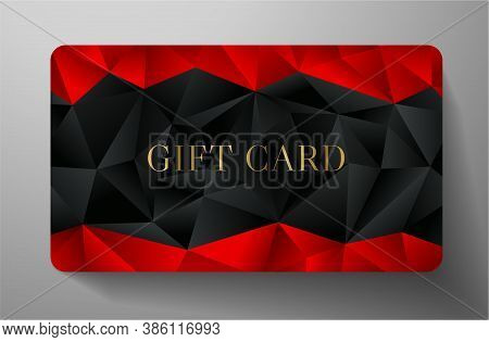Gift Card With Abstract Black Polygon Background (triangle Shape Texture) And Red Geometric Poly Pat