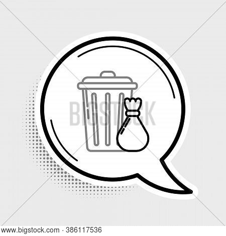Line Trash Can And Garbage Bag Icon Isolated On Grey Background. Garbage Bin Sign. Recycle Basket Ic