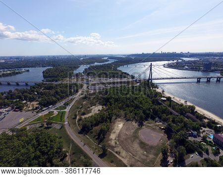 Aerial drone view of Kiev cityscape, Dnepr river. (drone image).