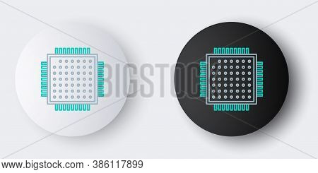Line Processor Icon Isolated On Grey Background. Cpu, Central Processing Unit, Microchip, Microcircu