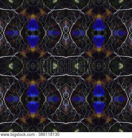 Geometric Rug Pattern. Repeat Tie Dye Ornament. Ikat Indonesian Design. Luminous Neon Seamless Textu