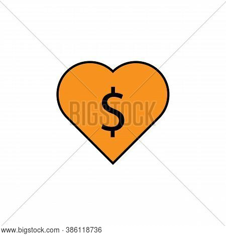 Heart, Dollar Icon. Element Of Finance Illustration. Signs And Symbols Icon Can Be Used For Web, Log