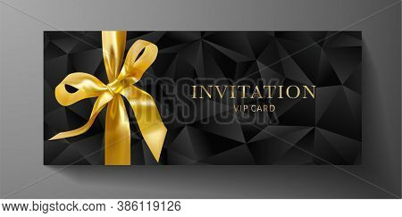 Luxurious Vip Invitation Template With Black Polygon Background Gold Bow (ribbon), Geometric Poly Pa
