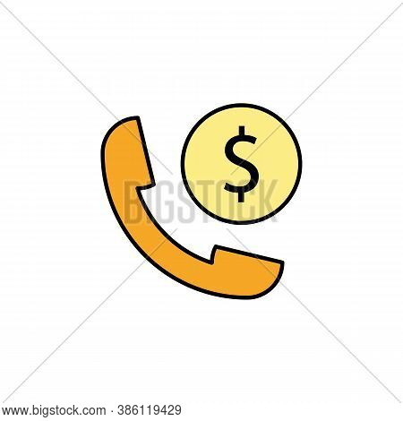 Handset, Dollar Icon. Element Of Finance Illustration. Signs And Symbols Icon Can Be Used For Web, L