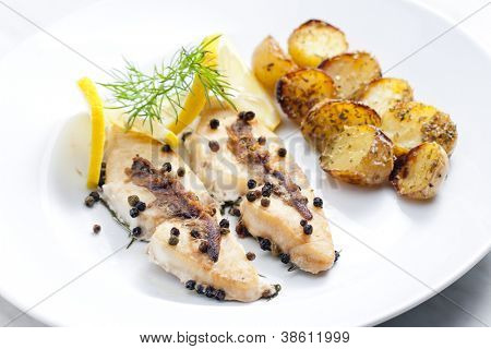 butterfish baked on pepper and anchovies