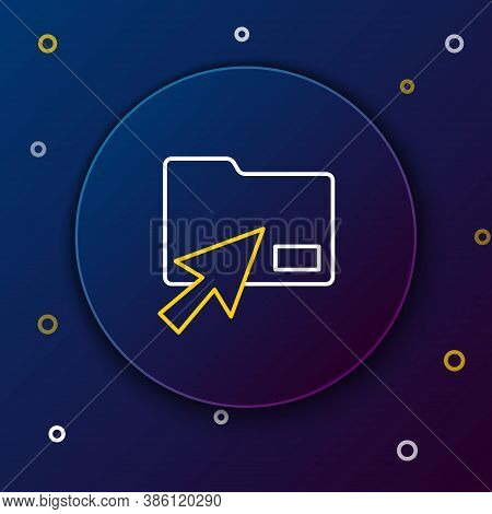 Line Cursor Click Document Folder Icon Isolated On Blue Background. Accounting Binder Symbol. Bookke