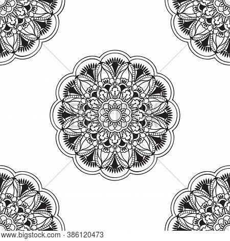 Seamless Pattern With Monochrome Isolated Mandala With Hand Drawn Elements In Arabic, Indian, Turkis