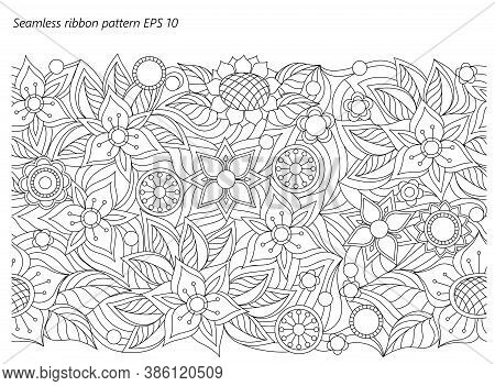 Seamless Ribbon Floral Background With Hand Drawn Pattern In Boho Style. Isolated Page For Adult Col