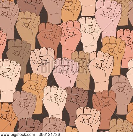 Vector Seamless Pattern With Different Ethnicity Colors Human Fists. Background With Strong Fists, A