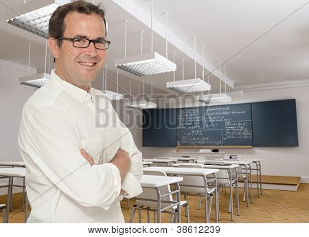 Smiling teacher in math�¢??s class