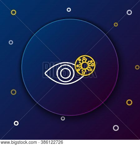 Line Reddish Eye Due To Virus, Bacterial Or Allergic Conjunctivitis Icon Isolated On Blue Background