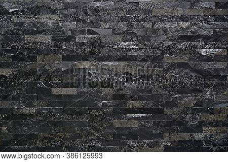 Black Stone Wall Texture Background Square Brick Stones Used To Decorate The Interior Or Exterior Wa