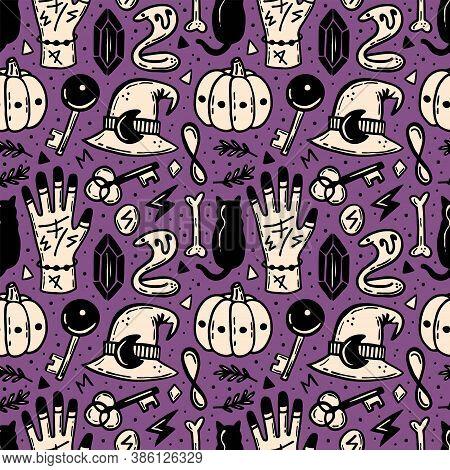 Halloween Seamless Pattern. Holiday Packaging Paper Design. Witch` Hat, Pumpkin, Cat, Snake, Bone, K