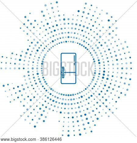 Blue Line Refrigerator Icon Isolated On White Background. Fridge Freezer Refrigerator. Household Tec