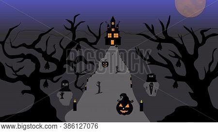 Halloween Pumpkins And Castle Illustration. Halloween Night Celebration. Style Composition Backgroun
