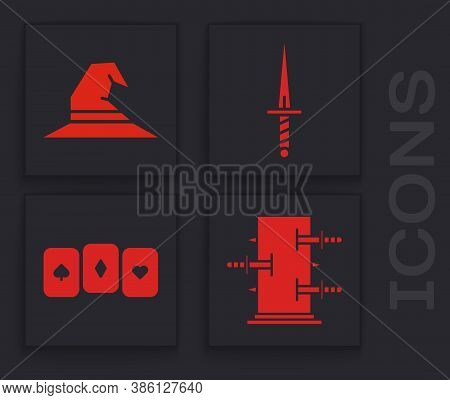 Set Trunk For Magic Tricks, Witch Hat, Dagger And Playing Cards Icon. Vector