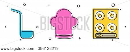 Set Kitchen Ladle, Chef Hat And Gas Stove Icon. Vector