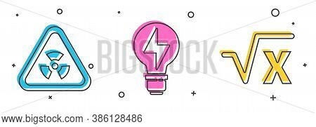Set Triangle With Radiation, Light Bulb With Lightning And Square Root Of X Glyph Icon. Vector
