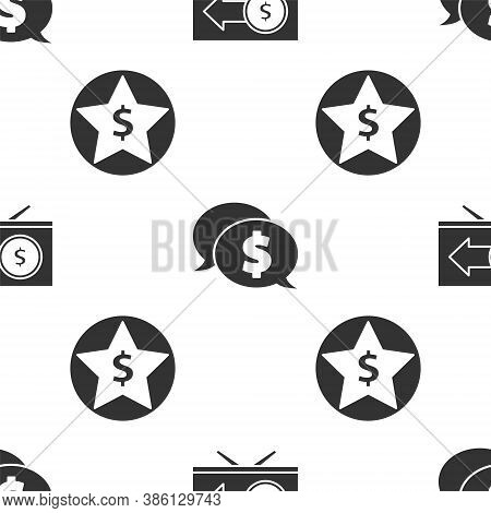 Set Monitor With Dollar, Speech Bubble With Dollar And Star And Dollar On Seamless Pattern. Vector