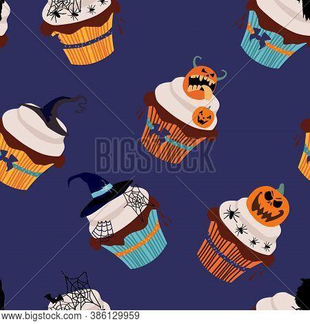 Halloween Seamless Pattern With Cupcakes,traditional Symbols.marzipan Jack-o'-lantern,chocolate Rave
