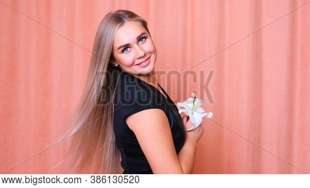 Beautiful Female With Healthy Long Straight Blond Hair. Dyed Wavy White Blond Hair Background, Dyein