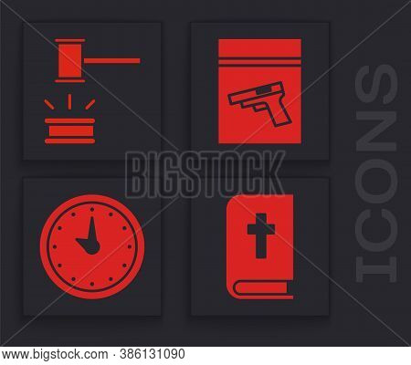 Set Holy Bible Book, Judge Gavel, Evidence Bag And Pistol Or Gun And Clock Icon. Vector
