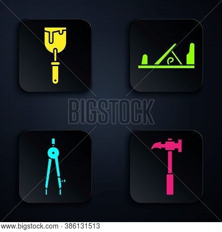 Set Claw Hammer, Putty Knife, Drawing Compass And Wood Plane Tool. Black Square Button. Vector