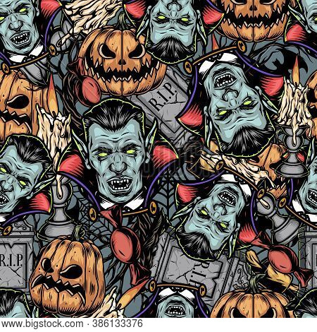 Halloween Elements Vintage Seamless Pattern With Vampire Heads Scary Pumpkins Tombstones Bonbon Cand