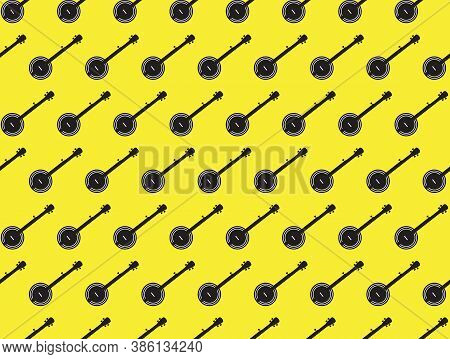 A Typical Five String Banjo Background In Silhouette Over A Yellow Background