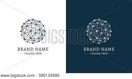 Sphere Made From Lines And Dots Logo On White And Blue Background.