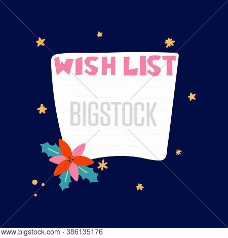 Blank Wish List Template. Journal Page Design With Lettering And Leaves And Flowers On Dark Blue Bac