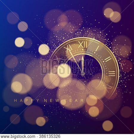 Golden Clock Dial With Roman Numbers On Magic Christmas Glitter Background With Bokeh. New Year Coun