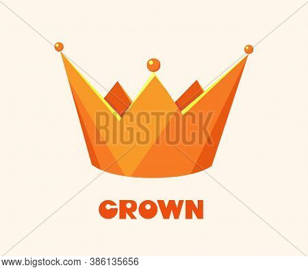Golden Crown For King Or Monarch, Queen Or Princess Tiara, Prince Headdress. Classic Heraldic Imperi