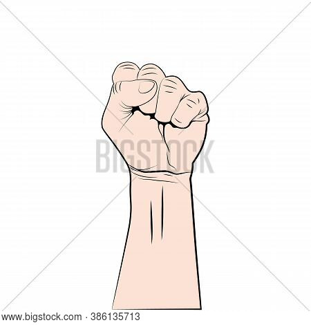 Fist Up - Symbol Of Protest, Revolution Or Strength. Raised Hand Isolated On White Background. Fist