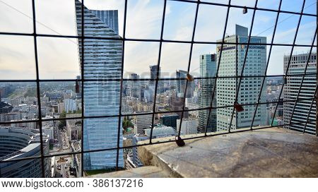 Warsaw, Poland. 20 September 2020. Cityscape Of Warsaw City From The Viewing Terrace Located On The