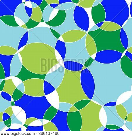 Seamless Geometric Pattern Circles In Green Blue Color. Repeating Linear Texture For Wallpaper, Pack