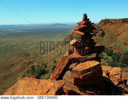 View Of A Cairn Built At The Top Of The Mt Bruce Hike In Western Australia